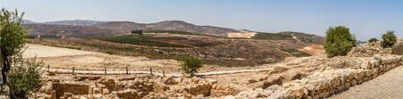 tabernacle: Rural landscape, farmland of settlement Shilo, the panoramic view from the archaeological park of Shiloh in Samaria, Israel Stock Photo