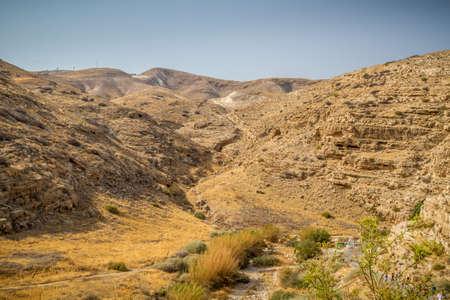 nahal: Wadi Qelt or Nahal Prat, summer in the Nature Reserve in the Judaean Desert, Israel Stock Photo