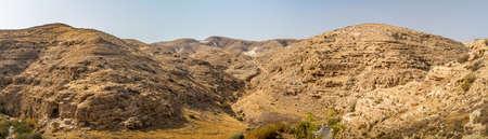 Wadi Qelt or Nahal Prat, summer in the Nature Reserve in the Judaean Desert, Israel Stock Photo