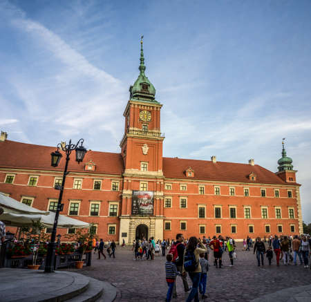 WARSAW, POLAND - SEPTEMBER 27: Royal Castle and the Castle Square in Old Town of Warsaw, Poland on September 27, 2016