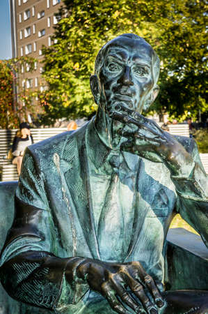 WARSAW, POLAND - SEPTEMBER 27: Jan Karski Statue near the Museum of the History of Polish Jews in Warsaw, Poland on September 27, 2016 Editorial