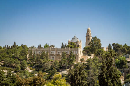 institute is holy: JERUSALEM, ISRAEL - OCTOBER 5: The Dormition Abbey and the Institute for the Study of the Bible, outside the walls of the Old City in Jerusalem, Israel on October 5, 2016