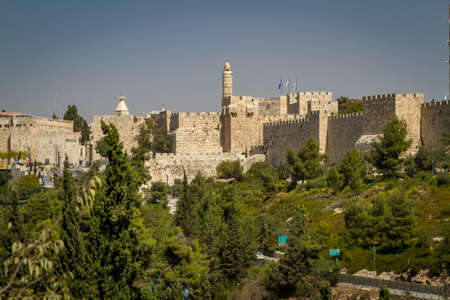 kingly: JERUSALEM, ISRAEL - OCTOBER 5: Wall with the Tower of David, near the Jaffa Gate of the Old City of Jerusalem, Israel on October 5, 2016 Editorial