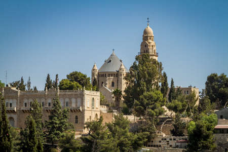 institute is holy: The Dormition Abbey and the Institute for the Study of the Bible, outside the walls of the Old City in Jerusalem, Israel