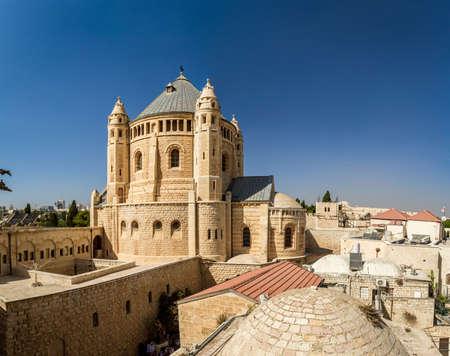 JERUSALEM, ISRAEL - OCTOBER 5: Exterior view of Dormition Abbey in Jerusalem, Israel on October 5, 2016 Editoriali