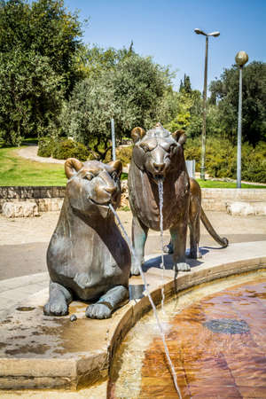 JERUSALEM, ISRAEL - OCTOBER 5: Lions sculptures, part of the Lions Fountain by the German sculptor Gernot Rumpf in Bloomfield garden in Jerusalem, Israel on October 5, 2016