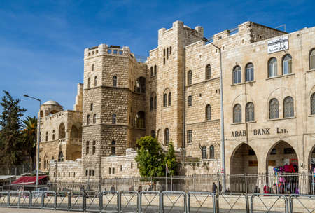 JERUSALEM, ISRAEL - JANUARY 6: German Catholic college for girls or Schmidts Girls College facing Damascus Gate outside the Old City of Jerusalem, Israel on January 6, 2016 Editorial