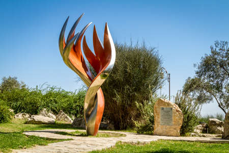 JERUSALEM, ISRAEL - OCTOBER 5: The Etzioni Flame sculpture by Gidon Graetz in memory of the etzioni brigade fighters, Bloomfield Garden in Jerusalem, Israel on October 5, 2016 Editorial