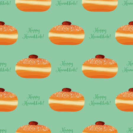 Hanukkah seamless pattern with traditional donuts and congratulation - Happy Hanukkah for Jewish Holiday of Hanukkah. Vector illustration. Illustration