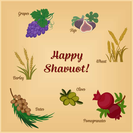 Seven Species of the Shavuot, set of agricultural products with inscription on Jewish holiday. Raster illustration