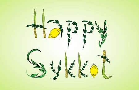 hadas: Four species: Etrog, lulav, hadass and aravah. Congratulation - Happy Sukkot. Raster illustration