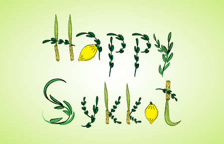 Four species: Etrog, lulav, hadass and aravah. Congratulation - Happy Sukkot. Raster illustration