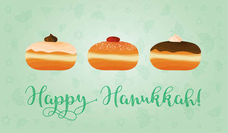 Greeting card for jewish holiday of Hanukkah. Hanukkah sufganiyot - traditional donuts and congratulation - Happy Hanukkah. Vector illustration. Illustration