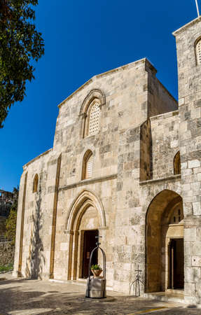 dolorosa: West facade of the Church of St. Anne - the Roman Catholic church, located at the start of the Via Dolorosa, near the Lions Gate in the Muslim Quarter of the Old City of Jerusalem, Israel. Stock Photo