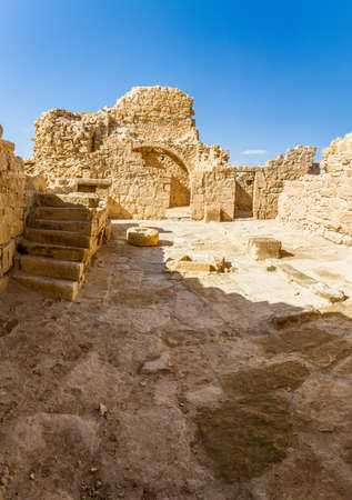 The ruins of the ancient city. Shivta, Nabataean Town on the ancient spice route in the Negev Desert, Israel Stock Photo