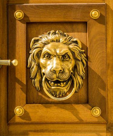 Vintage door handle - lion head, decorative detail on the wooden front door, Lazienki Park in Warsaw, Poland