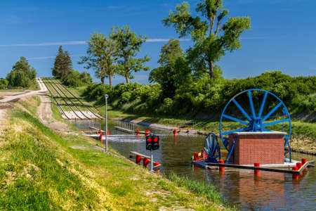 Mechanical equipment for transporting boats, the oblique plane with rails, boat lift in the Elblag Canal, Poland