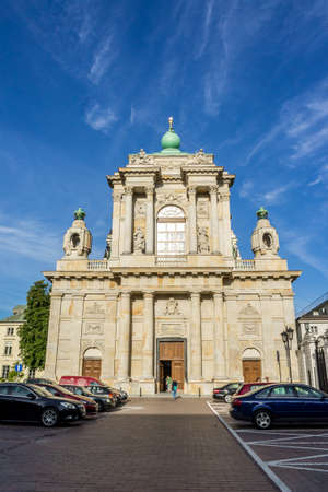 WARSAW, POLAND - SEPTEMBER 27: Church of the Assumption of the Virgin Mary and of St. Joseph or Carmelite Church, Krakowskie Przedmiescie in Warsaw, Poland on September 27, 2016 Editorial