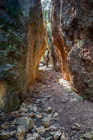 cleft: The Cleft in the mountain, a narrow passage between the rocks in Upper Galilee, Israel Stock Photo