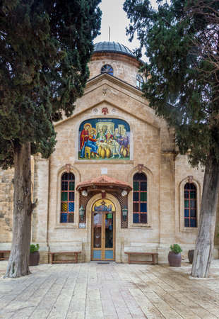 The Cana Greek Orthodox Wedding Church in Cana of Galilee, Kfar Kana, front view, Israel.