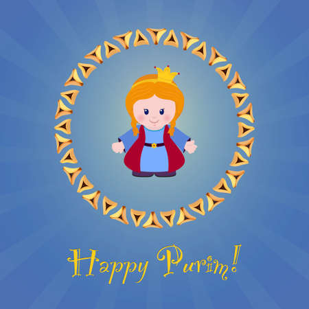 oznei: Jewish holiday of Purim. Greeting card with Esther, Happy Purim. Vector illustration of fun characters in cartoon style on blue background.