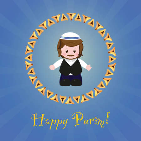 oznei: Jewish holiday of Purim. Greeting card with Mordecai, Happy Purim. Vector illustration of fun characters in cartoon style on blue background.