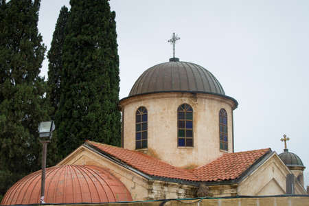 View of the dome of the Cana Greek Orthodox Wedding Church in Cana of Galilee, Kfar Kana in winter cloudy day, Israel. Stock Photo