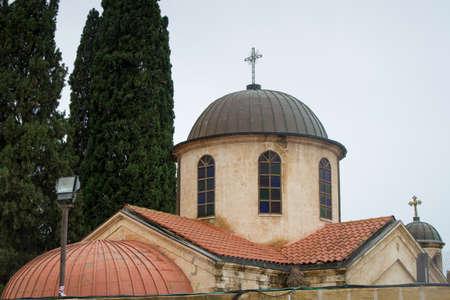 kana: View of the dome of the Cana Greek Orthodox Wedding Church in Cana of Galilee, Kfar Kana in winter cloudy day, Israel. Stock Photo
