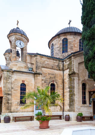The Cana Greek Orthodox Wedding Church in Cana of Galilee, Kfar Kana in winter cloudy day, Israel.