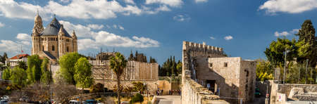 institute is holy: Panoramic view of Dormition Abbey from the wall of the Old City of Jerusalem, Israel