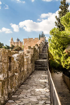 institute is holy: View of Dormition Abbey from the wall of the Old City of Jerusalem, Israel