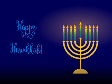 chanukiah: Greeting card for jewish holiday of Hanukkah. Hanukkah menorah, traditional candle holder for nine candles and congratulation - Happy Hanukkah, vector illustration. Illustration