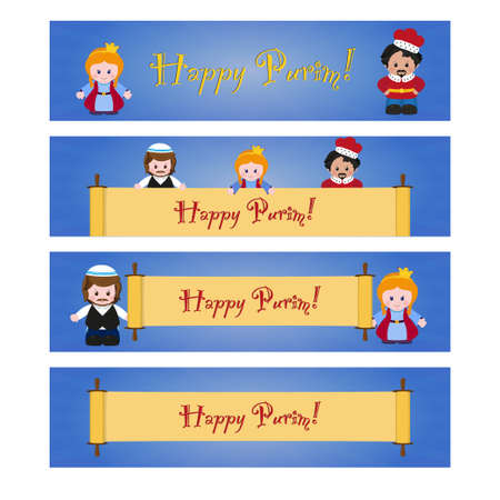 esther: Set of Purim banners with Esther, Mordecai and Achashverosh. Jewish holiday of Purim. Vector illustration of fun characters in cartoon style