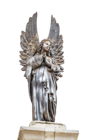 first miracle: Sculpture of angel on top of the Church Of The First Miracle, the Catholic Wedding Church in Cana of Galilee, Israel Stock Photo