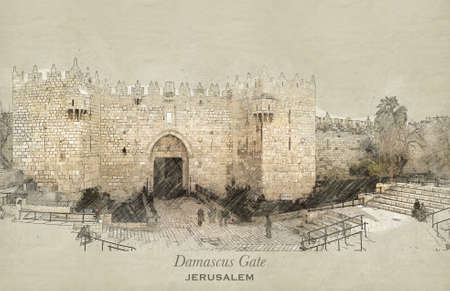 Sketch of Damascus Gate in retro style, raster illustration, travel greeting card, postcard, poster with cityscapes of Jerusalem, Israel
