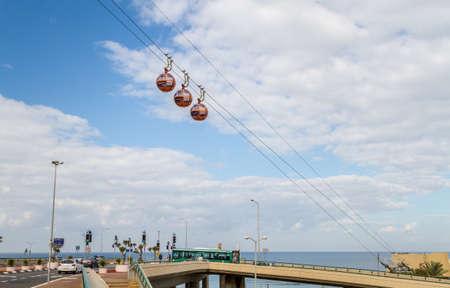 HAIFA, ISRAEL - DECEMBER 11: Cable Car descending from Mount Carmel to Mediterranean sea in Bat Galim neighborhood in Haifa, Israel on December 11, 2016