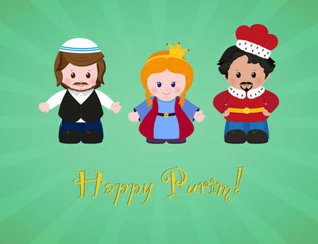 Jewish holiday of Purim. Esther, Mordecai and Achashverosh, vector illustration of fun characters in cartoon style. EPS 10 Illustration