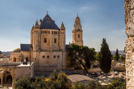 institute is holy: View of Dormition Abbey outside the walls of the Old City of Jerusalem, Israel