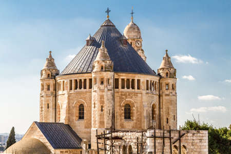 institute is holy: Exterior view of Dormition Abbey outside the walls of the Old City of Jerusalem, Israel