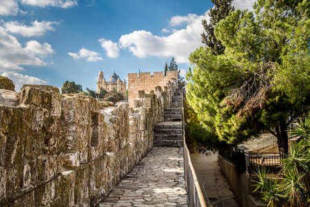 View of Dormition Abbey from the wall of the Old City of Jerusalem, Israel