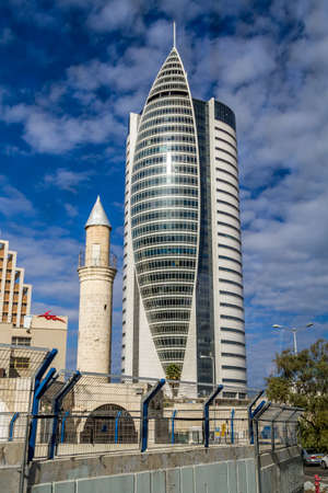 HAIFA, ISRAEL - DECEMBER 11: The Sail Tower - District Government Center in Haifa, Israel on December 11, 2016