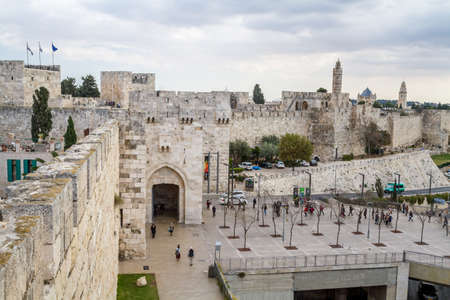 suleyman: JERUSALEM, ISRAEL - DECEMBER 8: View of the Jaffa Gate from wall of the Old City in Jerusalem, Israel on December 8, 2016