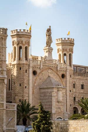 guesthouse: JERUSALEM, ISRAEL - DECEMBER 8: Facade of Notre Dame de Jerusalem, Notre Dame de France - Catholic monastery and guesthouse in Jerusalem, Israel on December 8, 2016