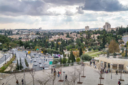 suleyman: JERUSALEM, ISRAEL - DECEMBER 8: Cityscape of Jerusalem, view from wall of the Old City in Jerusalem, Israel on December 8, 2016 Editorial