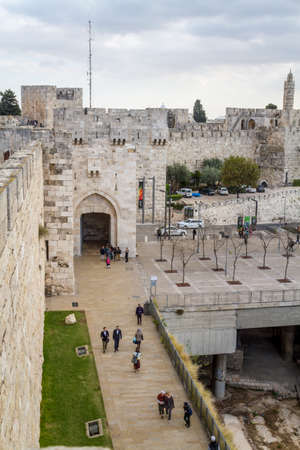 jaffa: JERUSALEM, ISRAEL - DECEMBER 8: View of the Jaffa Gate from wall of the Old City in Jerusalem, Israel on December 8, 2016