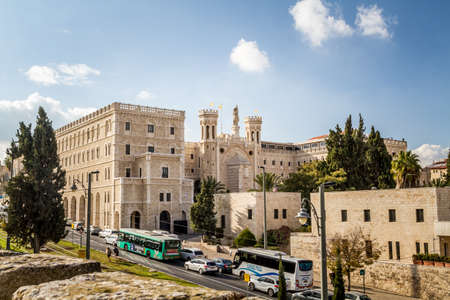 jewish houses: JERUSALEM, ISRAEL - DECEMBER 8: View of the Notre Dame de Jerusalem, Notre Dame de France - Catholic monastery and guesthouse in Jerusalem, Israel on December 8, 2016