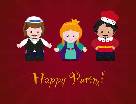 esther: Jewish holiday of Purim. Esther, Mordecai and Achashverosh, vector illustration of fun characters in cartoon style on dark red background. Illustration