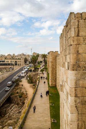 JERUSALEM, ISRAEL - DECEMBER 8: Cityscape of Jerusalem, view from wall of the Old City in Jerusalem, Israel on December 8, 2016 Editorial