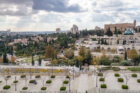 suleyman: Cityscape of Jerusalem, view from wall of the Old City in Jerusalem, Israel