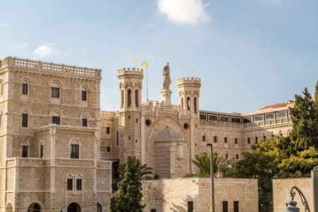 jewish town: JERUSALEM, ISRAEL - DECEMBER 8: Facade of Notre Dame de Jerusalem, Notre Dame de France - Catholic monastery and guesthouse in Jerusalem, Israel on December 8, 2016